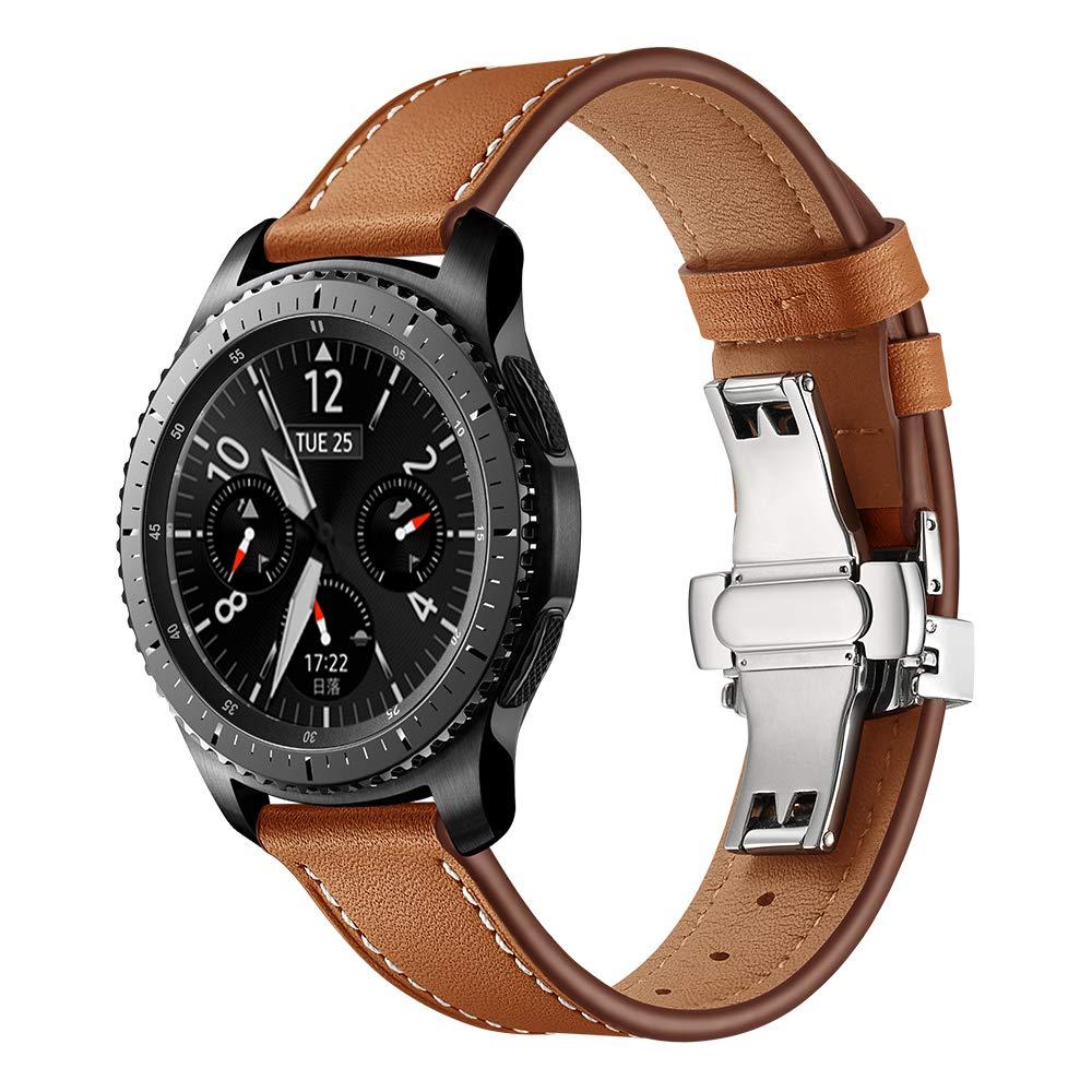 Dây Da Dành Cho Galaxy Watch 46, Huawei GT, Gear S3 Khóa Chống Gãy Màu Bạc (Size 22mm)