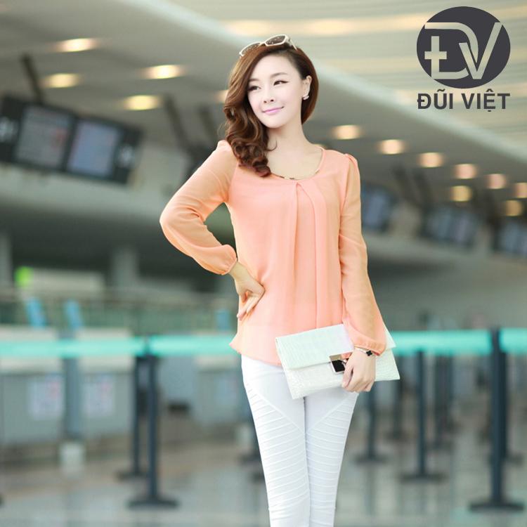 Áo voan nữ áo kiểu trẻ trung dài tay mẫu mới DV29