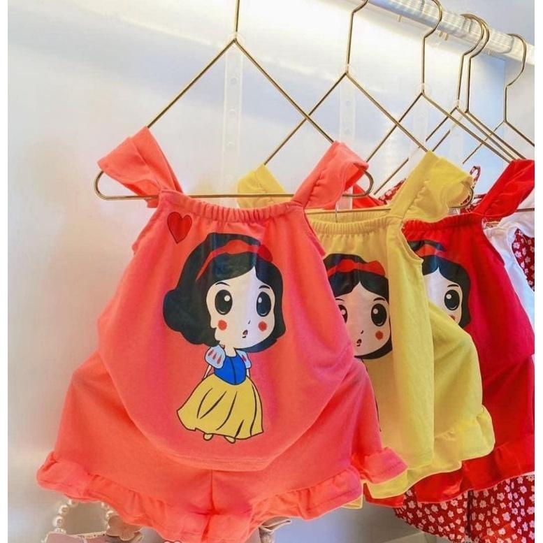 Combo 5 bộ đồ đáng yêu cho bé gái 7-18 kg. Bộ đồ 2 dây thun mát mùa hè cho bé