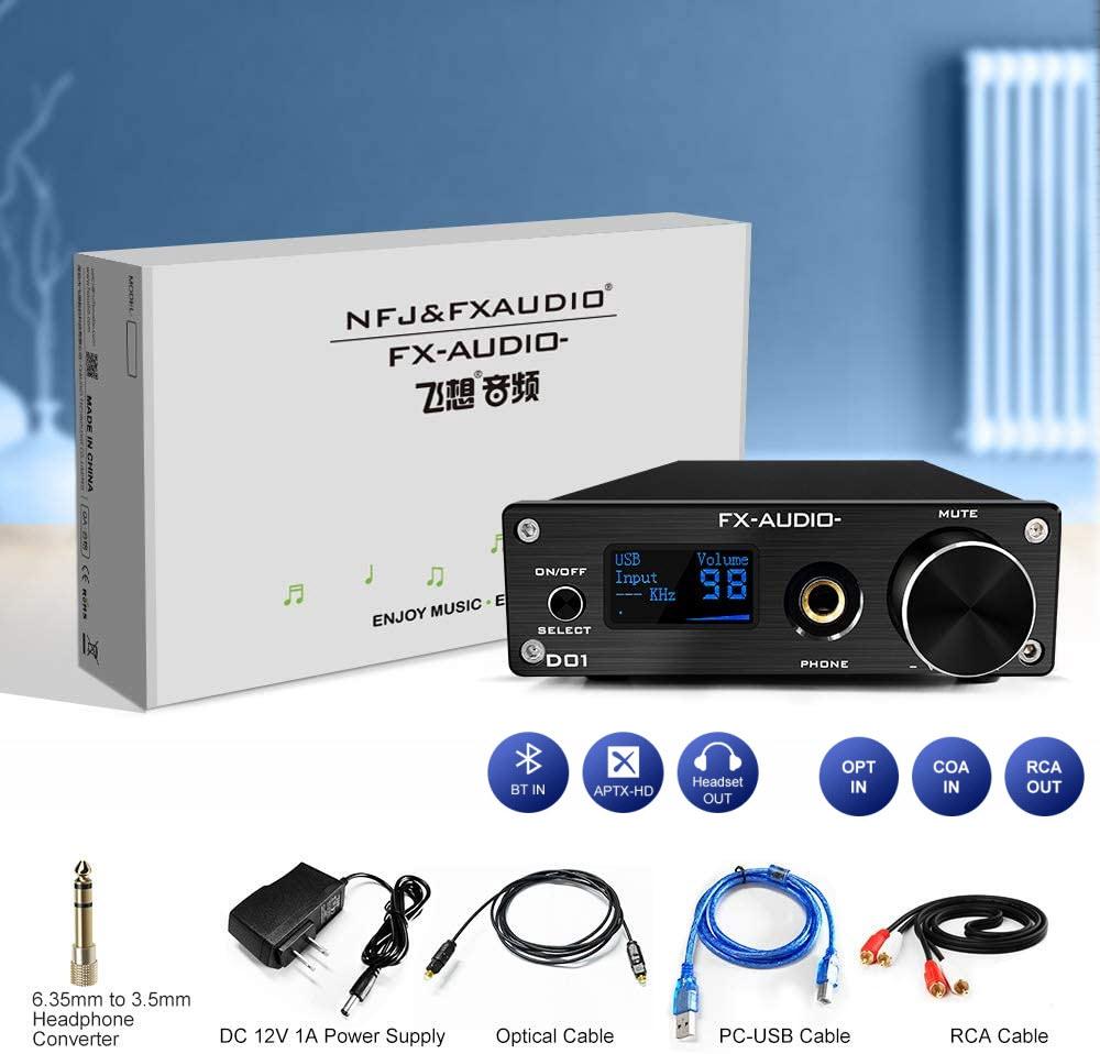 Bộ Giải Mã FX-Audio DAC D01 32 Bit/768Khz/ DSD512 Bluetooth 5.0 USB  and Headphone Amplifier HiFi Stereo Digital to Analogue ES9038Q2M/XMOS XU208 Support APTX/HD/LDAC/DSD.512 with 6.35mm to 3.5mm Headphone Converter - Hàng Chính Hãng
