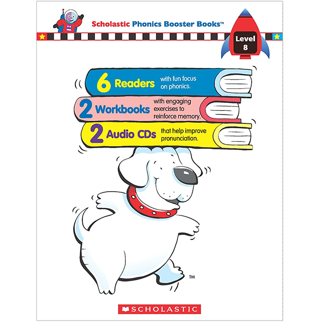 Scholastic Phonics Booster Books : Box Set Level 8 (Include 6 Books, 2 Workbooks and 2 Audio CDs)