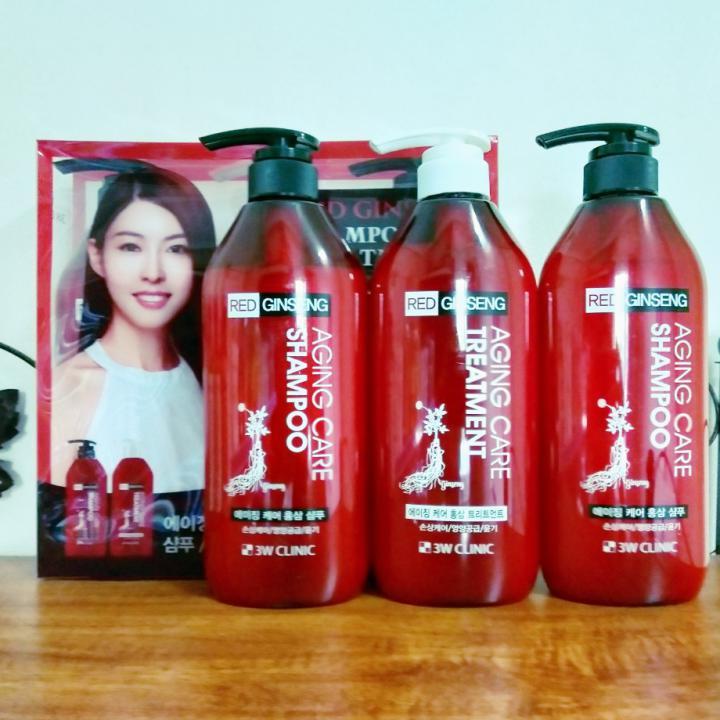 Bộ 2 dầu gội 1 dầu xả tinh chất nhân sâm đỏ 3W CLINIC AGING CARE RED GINSENG SHAMPOO & TREATMENT