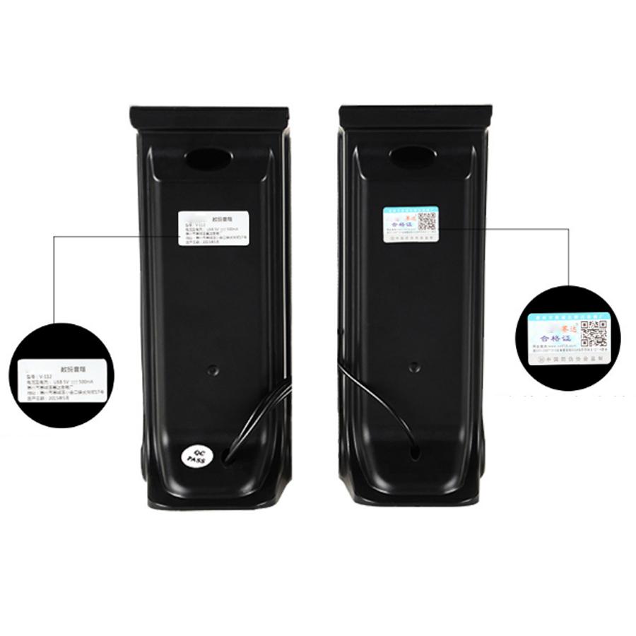 Combo Bộ 2 Loa Máy Tính USB 2.0 V-112 + Hộp Quẹt Bật Lửa Khò Kiêm Đồng Hồ Cầm Tay (Màu Ngẫu Nhiên)