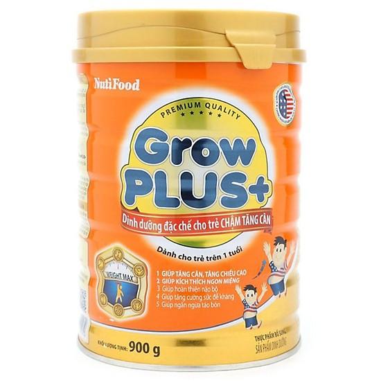 Sữa bột NutiFood Grow Plus+ cho trẻ chậm tăng cân 900g - Hàng chính hãng