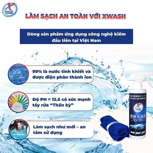 [CHÍNH HÃNG] 2 CHAI 500ML: XWash - Xịt tẩy rửa, khử mùi nội thất ô tô KHÔNG HÓA CHẤT - Tặng khăn lông cừu cao cấp