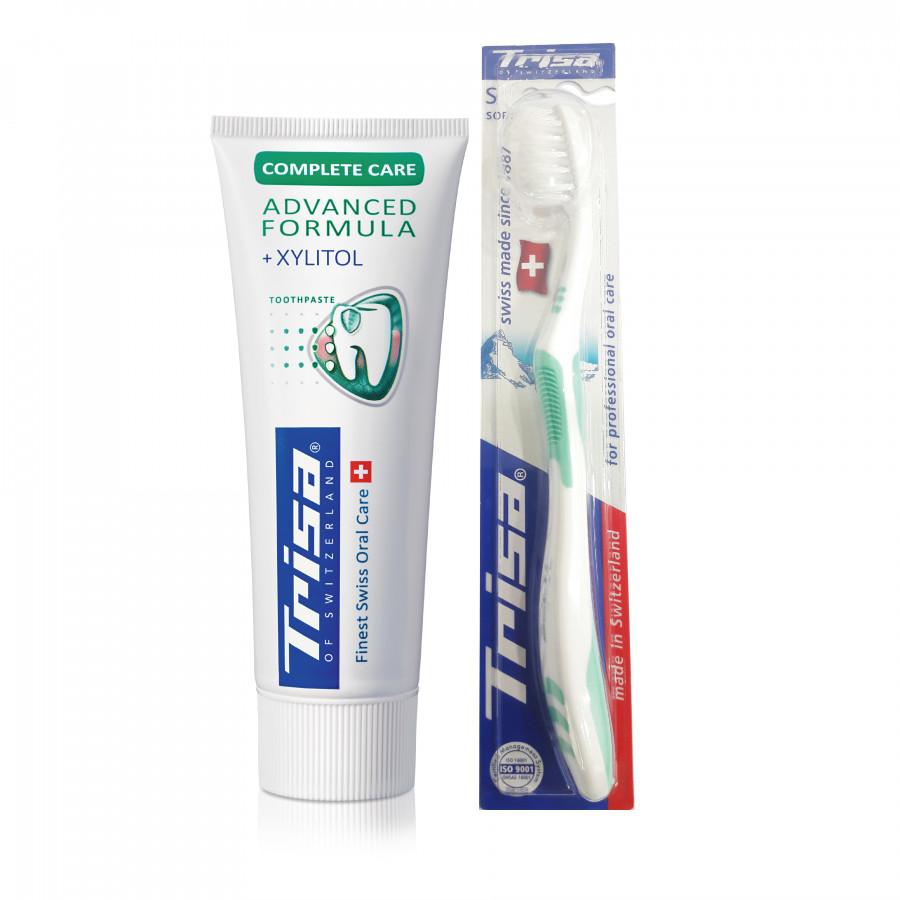 Kem Đánh Răng TRISA Complete Care 75ml + Tặng Kèm Bàn Chải Đánh Răng TRISA Uno