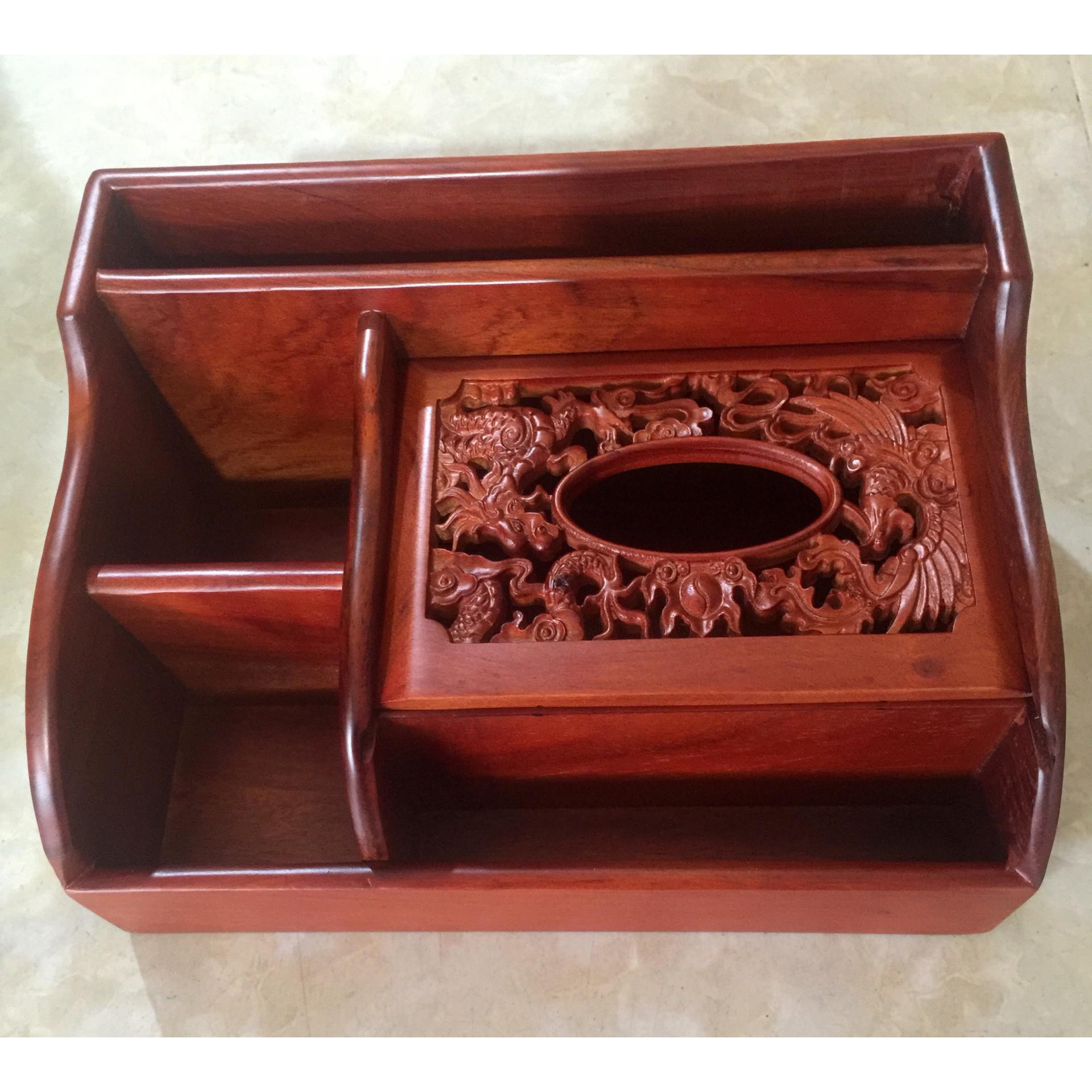 Hộp đựng khăn giấy để bàn sang trọng gỗ hương trạm khắc long phụng