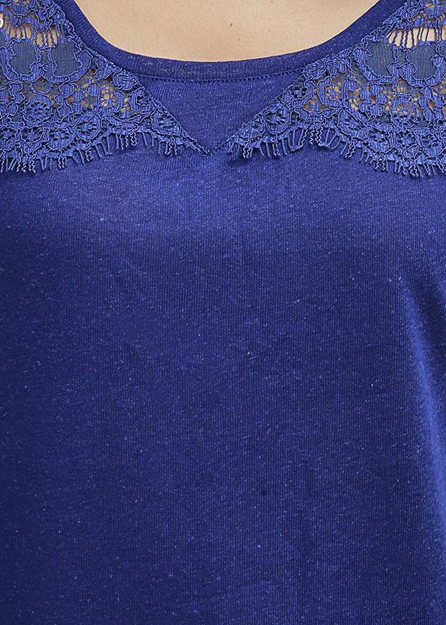 Áo Cổ Tròn Phối Ren Cotton Brothers màu xanh đậm CB02S181607-NV