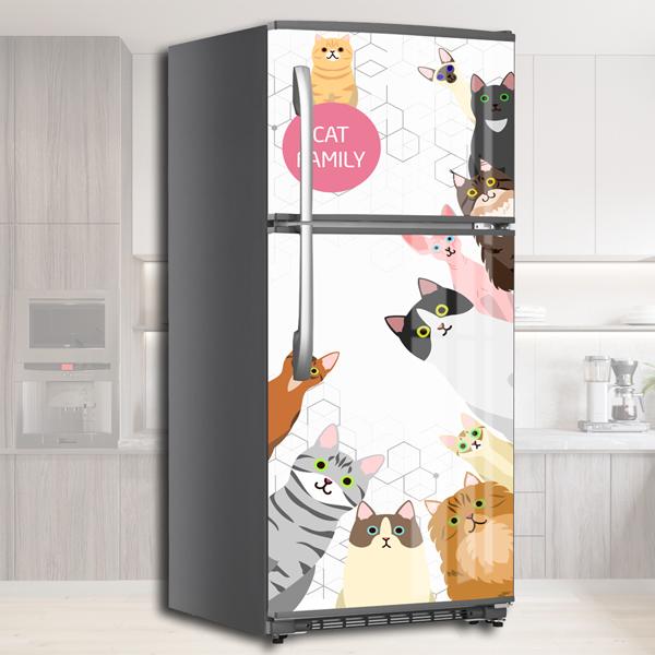 Miếng Dán Trang Trí Tủ Lạnh Những Chú Mèo Xinh - Decal Dán Tủ Lạnh Hiện Đại, Dễ Dàng Tự Bóc Dán, Không Thấm Nước, Không Bay Màu