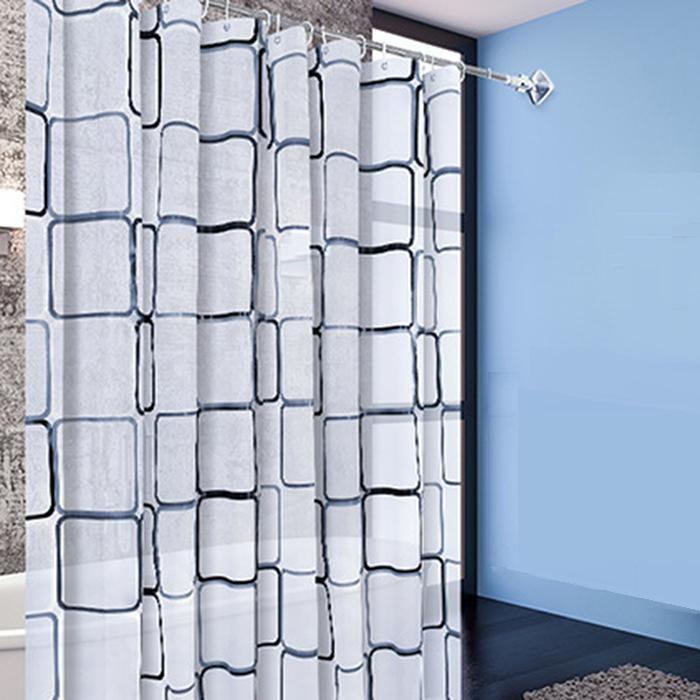 Rèm phòng tắm họa tiết vuông gam màu trắng, kèm theo móc, chống thấm HT718