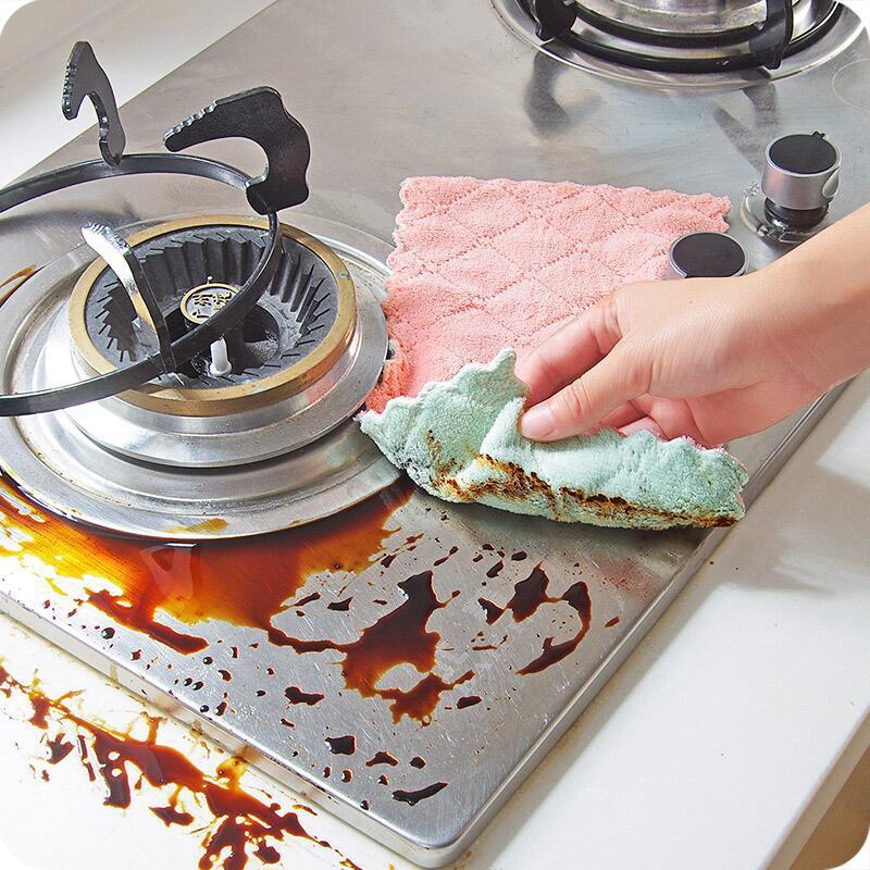Combo Bộ Găng Tay Cao Su Rửa Bát, Giặt Giũ, Vệ Sinh + Sét 5 Khăn Lau Bếp, Bát Đĩa Chống Thấm Dầu Mỡ - Muran