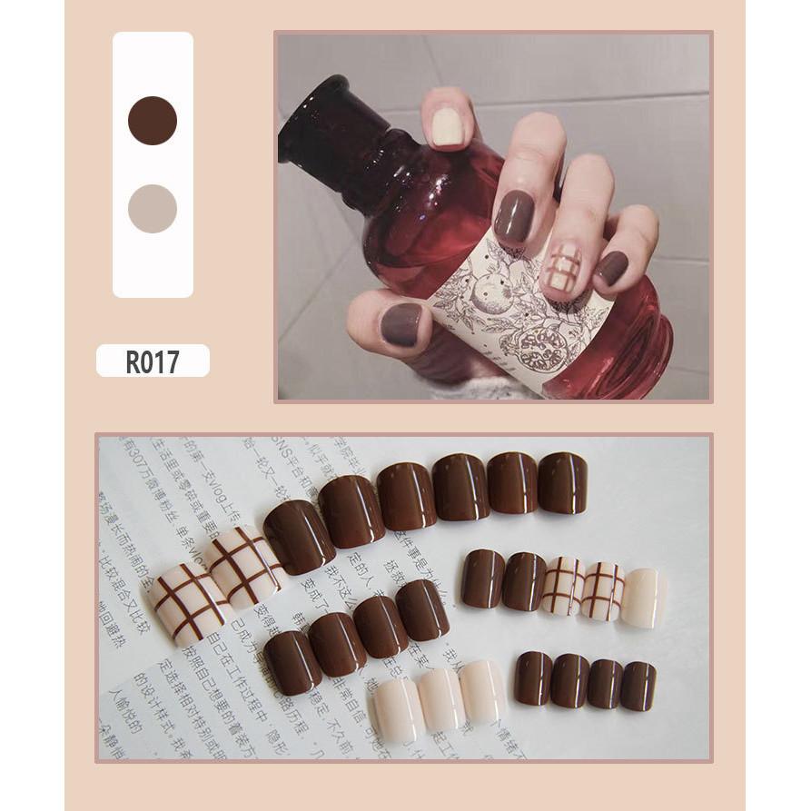 Bộ 24 móng tay giả (R017) tặng kèm thun lò xo cột tóc màu đen tiện lợi
