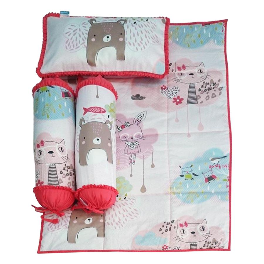 Bộ 4 Món Ga Gối Cho Bé Sleep Baby Graceful Cat - F148