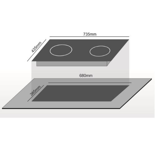 Bếp điện 02 từ CANAVAL CA-9959 Inverte Bo điều khiển Italia Chíp điều khiển SIMENS Mặt kính Ceramic Viền vàng 4 cạnh - Màu đen (4000W) - Hàng chính hãng Malaysia