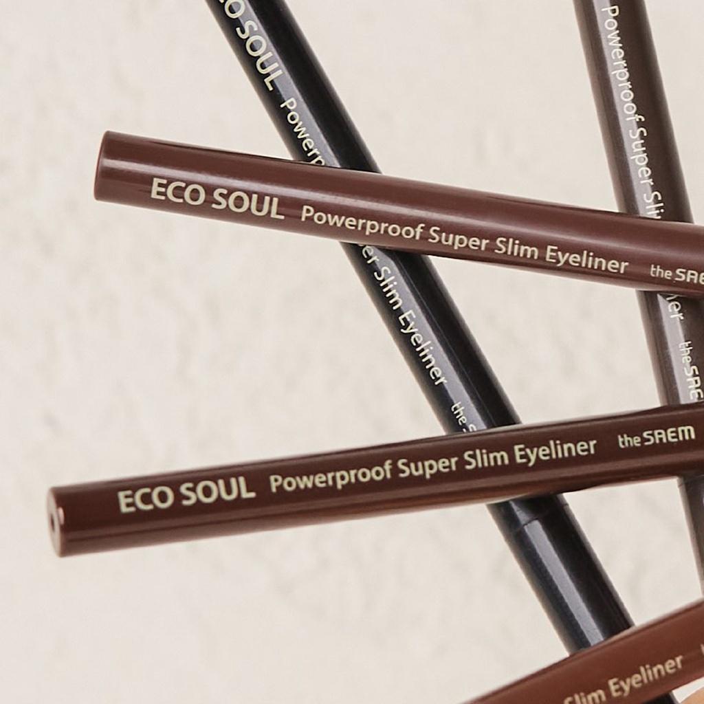 Bút Kẻ Mắt Chống Nước The Saem Eco Soul Powerproof Super Slim Eyeliner (0.1g)