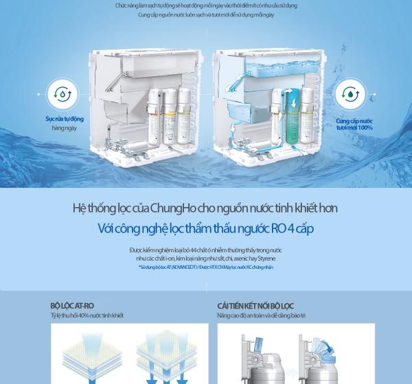 Máy Lọc Nước Khử Trùng Nóng Lạnh ChungHo SANITA (TITAN) WP-60C9560M