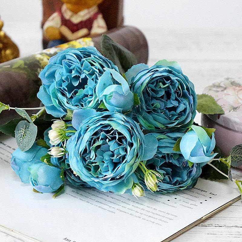 Hoa lụa cao cấp, cành 5 bông mẫu đơn quý tộc Châu Âu sang trọng trang tri phòng khách, nhà hàng, khách sạn, spa Rosely-602