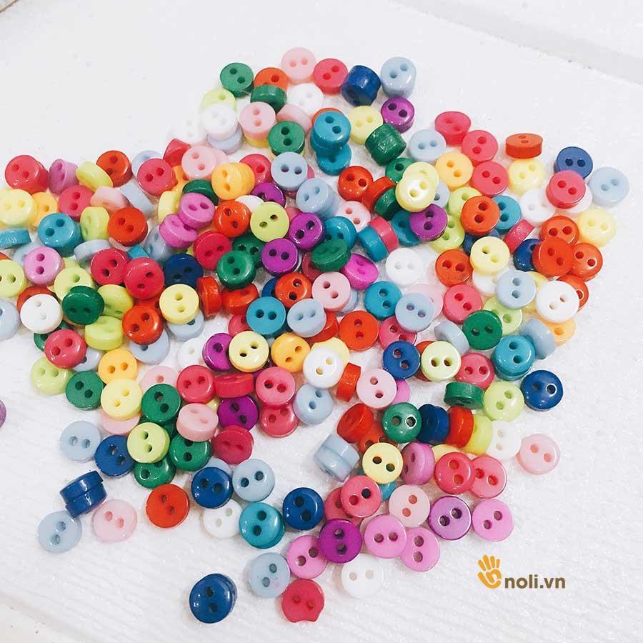 Cúc nhựa trang trí hình tròn màu sắc (gói 10 cái)