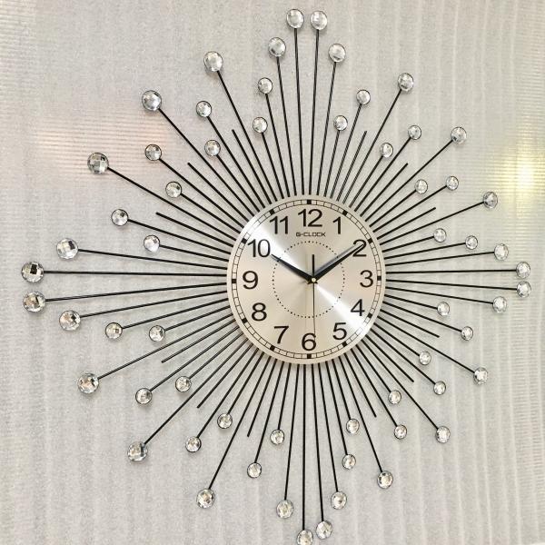 Đồng hồ treo tường GCLOCK loại to KT 75X75 (cm) cao cấp làm từ kim loại sơn tĩnh điện chạy máy kim trôi chuẩn (1918)
