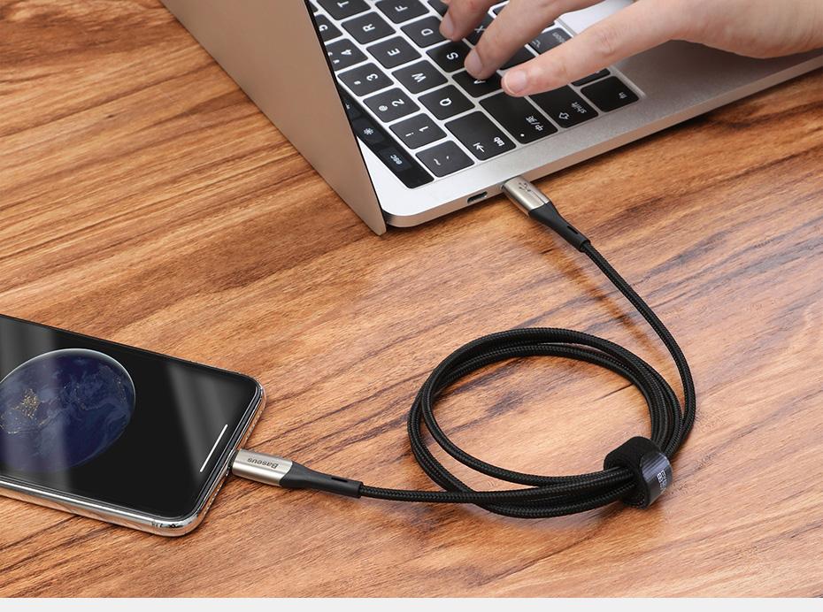 Cáp sạc nhanh Type C to Lightning Baseus Horizontal Data PD (18W, Power Delivery Fast Charge, C to iPhone Cable) 1m/2m - Hàng nhập khẩu