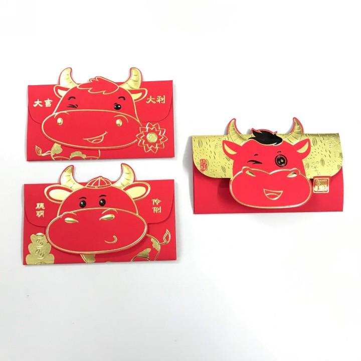 Set 3 bao lì xì con trâu 3D cute nhũ vàng (Mẫu 1), dùng để đựng thiệp chúc, tiền lì xì, mừng tuổi dễ thương và ý nghĩa - TMT Collection.com - SP005139