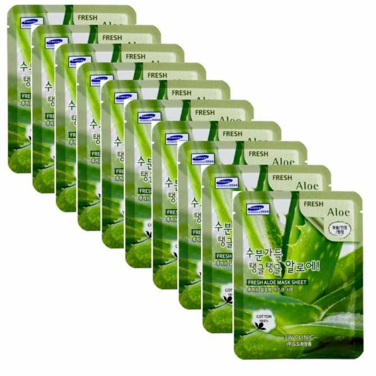 Combo Sữa rửa mặt chiết xuất từ than hoạt tính 3W CLINIC CHARCOAL CLEANSING FOAM và Bộ 10 gói mặt nạ dưỡng ẩm da chiết xuất nha đam 3W Clinic Fresh Aloe Mask Sheet