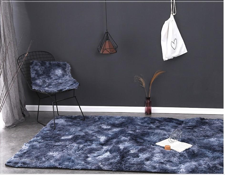Thảm lông trải sàn màu xanh navi loang - 1m6x2m