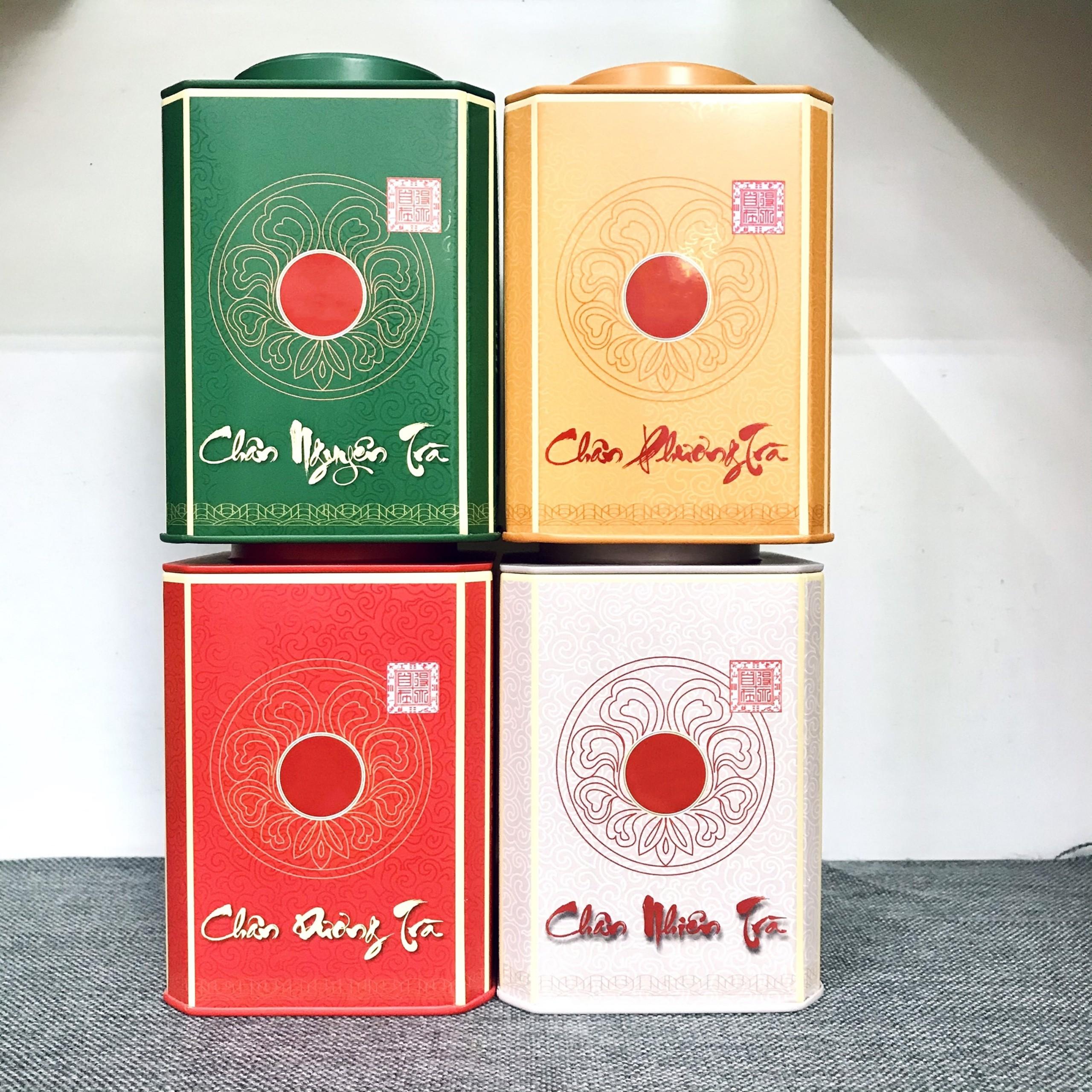 Hộp vuông đựng trà bằng thép màu đỏ