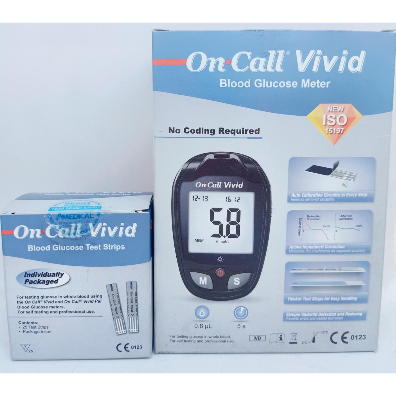 Máy đo đường huyết Acon On Call Vivid tặng kèm 25 que thử