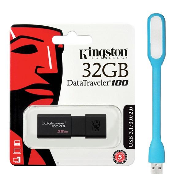 USB Kingston DT100G3 32GB USB 3.0 - Hàng Chính Hãng + Tặng đèn Led