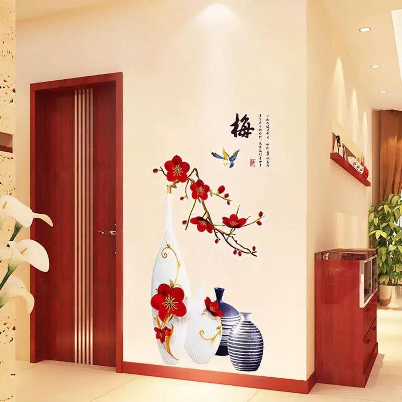 Decal dán tường bình hoa phong thủy số 2