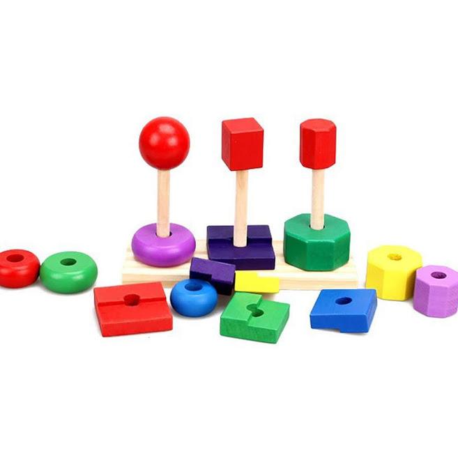 Bộ 3 tháp hình họcđồ chơi giáo dục
