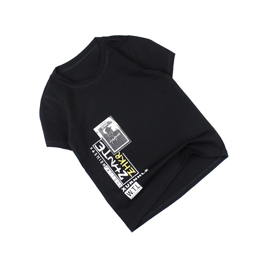 Áo thun đen thời trang casual cổ tròn in hình cho bé trai 0.5-8 tuổi từ 10 đến 26 kg 04472