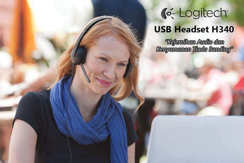 Tai Nghe Logitech USB Headset H340 Cho PC, Laptop Tích Hợp Micro Chuyên Dùng Cho Học Trực Tuyến Online - Dây Dài 1.8m - Kèm Đèn LED Trợ Sáng - Hàng Chính Hãng