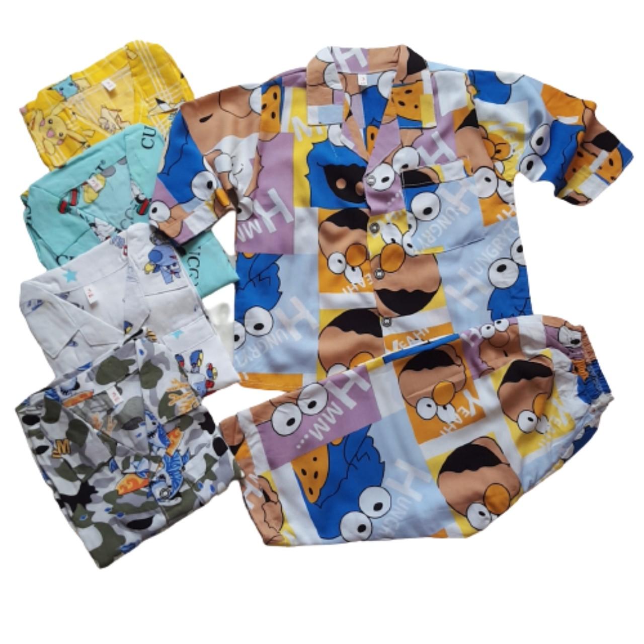 Combo 2 bộ quần áo trẻ em Tole, lanh PIJAMA tay dài quần dài cho bé trai Size 5 -23kg