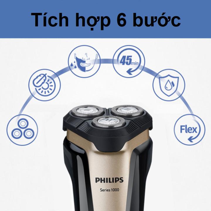 Máy cạo râu khô và ướt nhãn hiệu Philips S1020 công suất 2W tích hợp 3 lưỡi cạo cao cấp - Hàng Nhập Khẩu