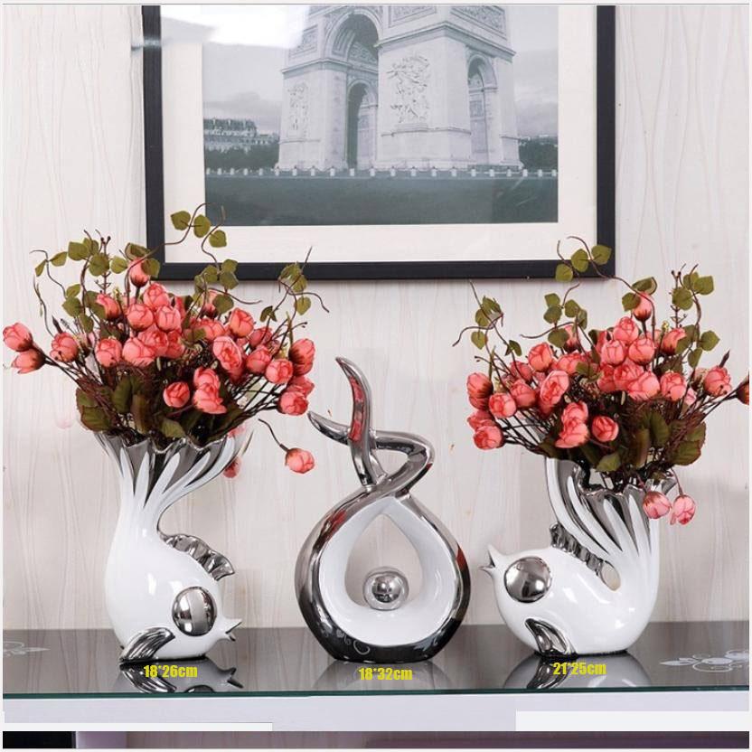 Bộ tượng cá vui đùa kèm hoa lụa đặt trang trí kệ tủ T302