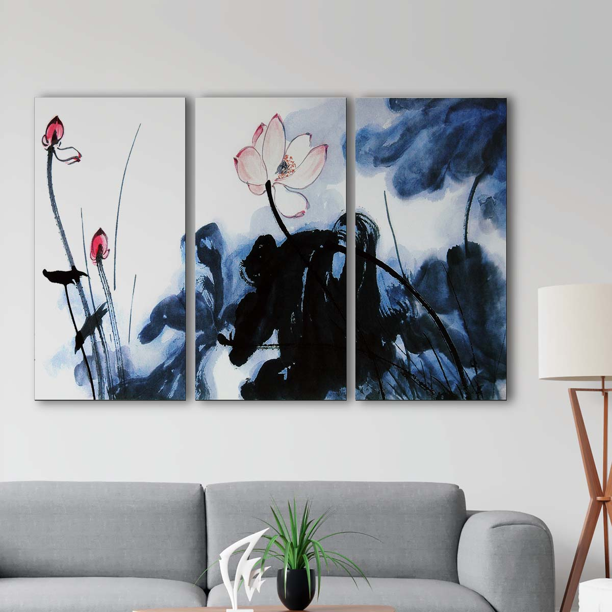 Bộ 3 tranh Canvas treo tường hoa sen - HS003