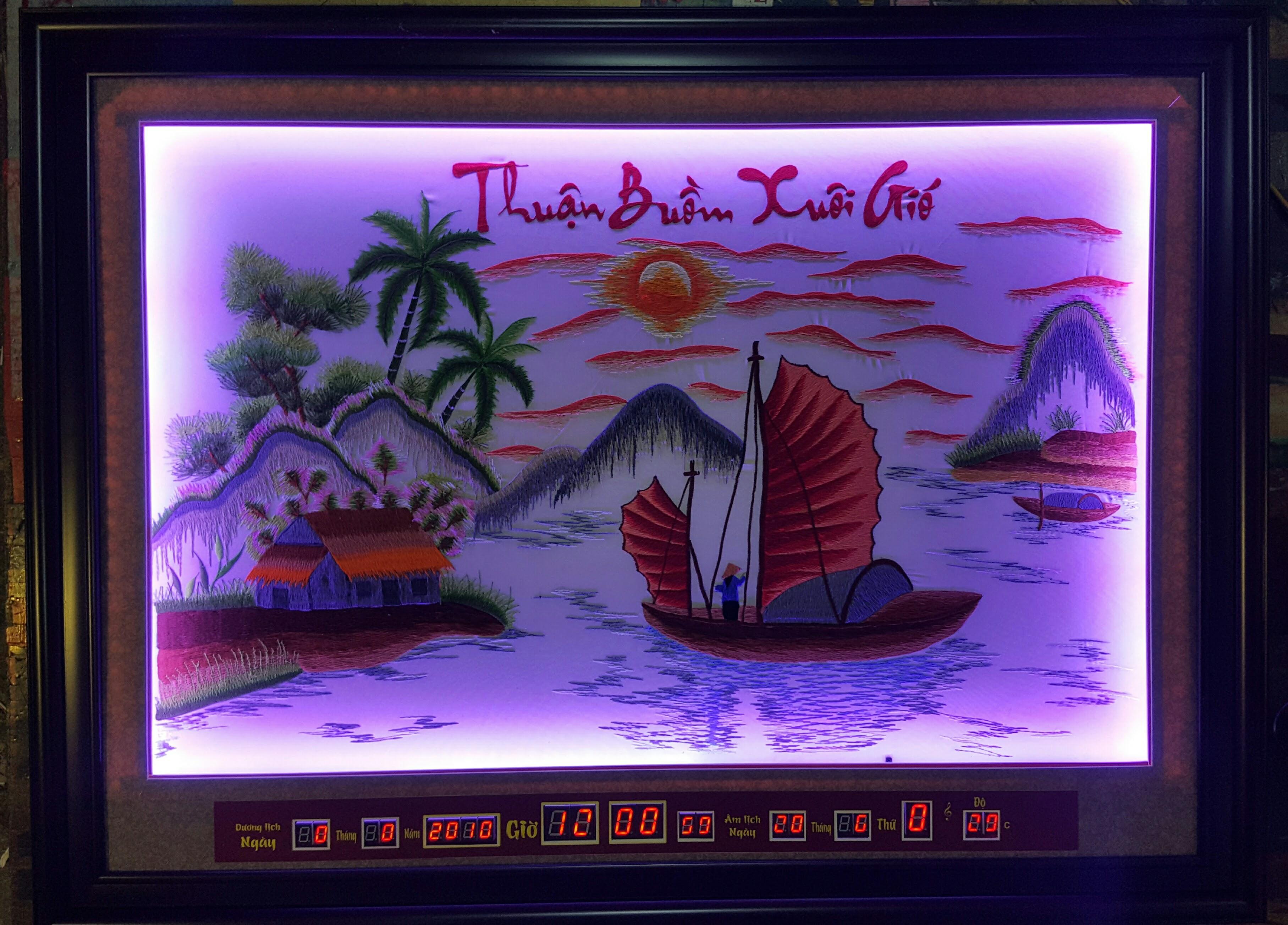 Tranh thêu đèn led, lịch vạn niên, thuận buồm xuôi gió -2045