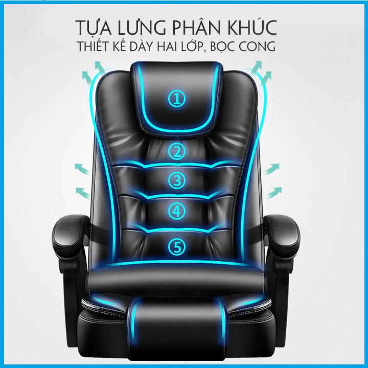 VIP - Ghế Giám Đốc. Ghế Da Văn Phòng Kèm Massage Lưng 5 Điểm Cao Cấp.