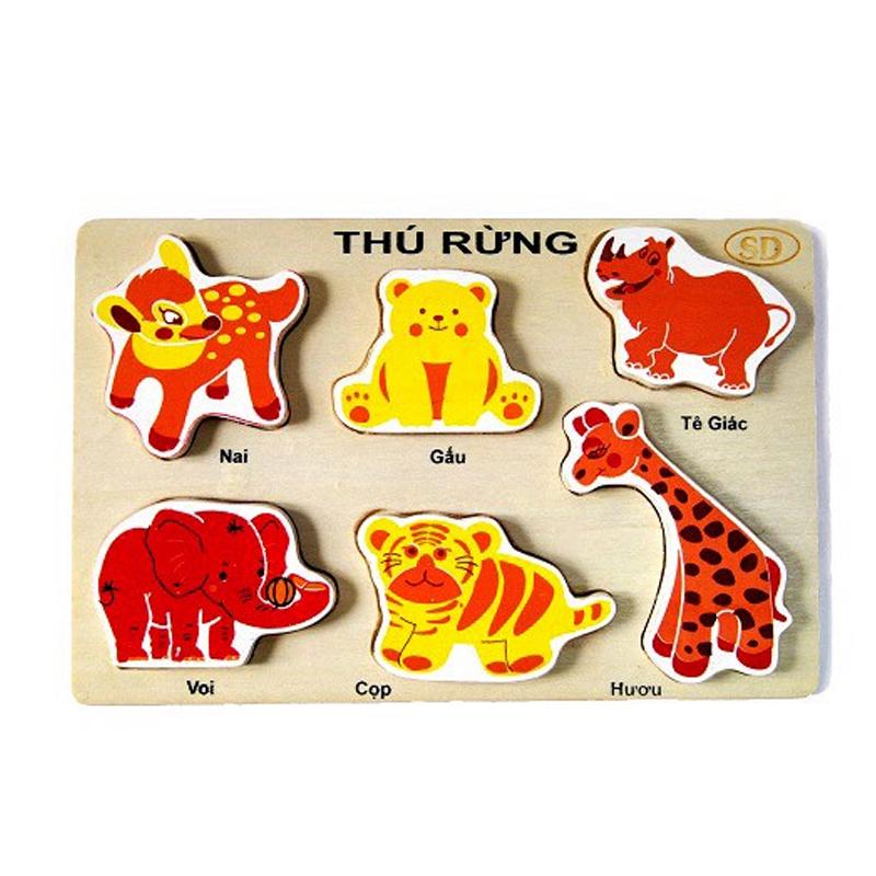 Đồ Chơi Gỗ Thông Minh - Bộ Lắp Ghép Nhận Dạng Hình Động Vật Bằng Gỗ (6 chi tiết hình thú nhiều màu) - Sản xuất tại Việt Nam, an toàn, đạt chuẩn Quatest 3 - Dành cho bé từ 3 tuổi trở lên