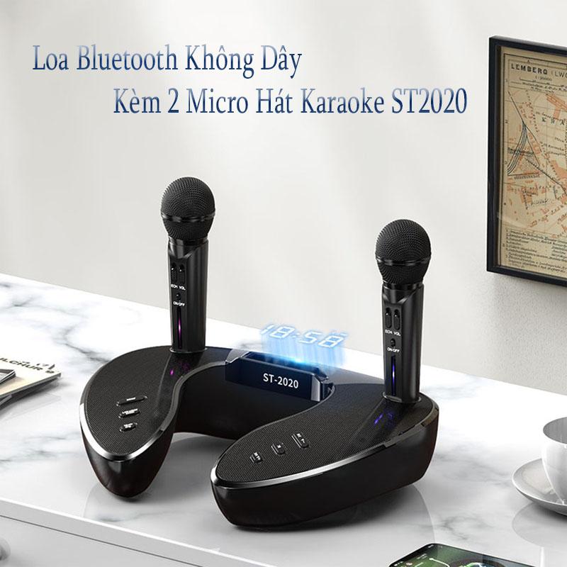 Loa bluetooth cao cấp ST 2020 - Dàn âm thanh karaoke mini - Mặt đồng hồ led cực đẹp - Tặng kèm 2 micro không dây - Loa karaoke bluetooth xách tay thời trang - Công nghệ mới thiết kế độc đáo - Bass đôi cực chất - Giao màu ngẫu nhiên