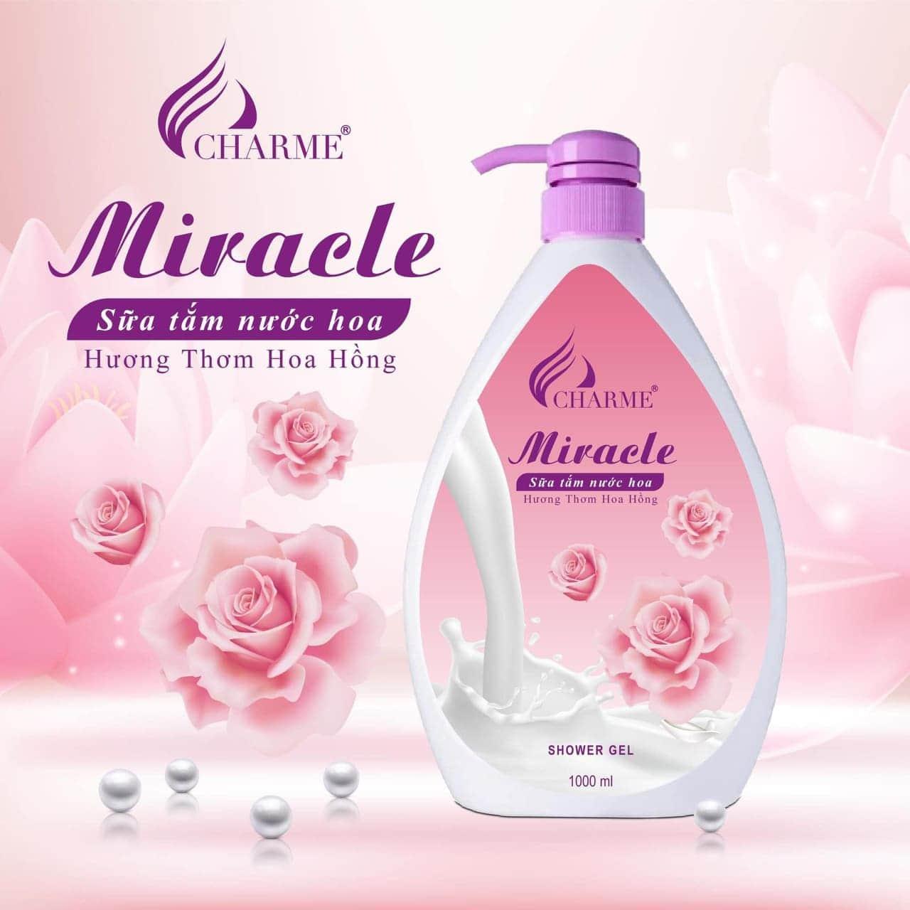 Sữa tắm Charme dưỡng trắng da Miracle 1000ml - Hương hoa hồng + Tặng kèm 1 chai nước hoa 5ml