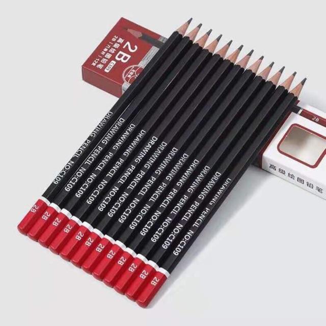 Bộ 12 Bút chì mềm 2B thân lục giác