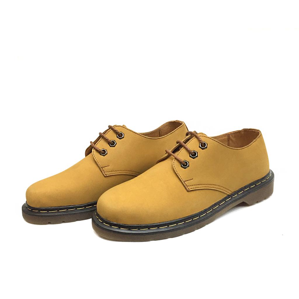 Giày Doctor nam da bò lộn buộc dây cổ thấp màu vàng Ballads thể thao cá tính đế khâu chắc chắn bên trong lót toàn bộ da bò kem vàng khử mùi Made in Viet Nam DOC-389