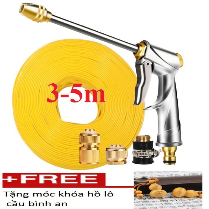 Bộ dây vòi xịt nước rửa xe,tưới cây đa năng, tăng áp 3 lần,loại 3m,5m 206701-2đầu đồng,cút đồng+ tặng móc khoá