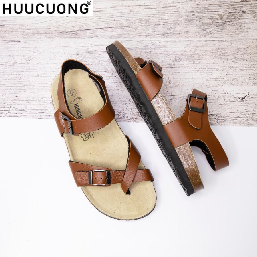 Sandal HuuCuong xỏ ngón pu nâu đế trấu