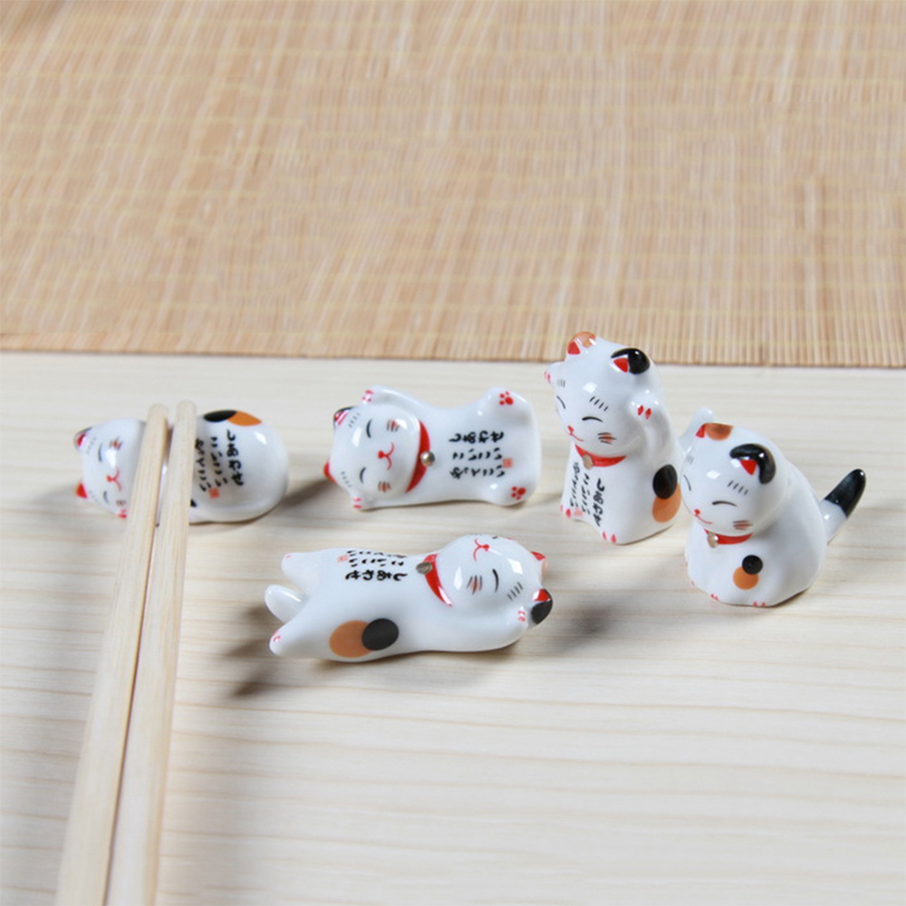 Combo 6 gác đũa bàn ăn gốm sứ mèo thần tài (giao mẫu ngẫu nhiên không chọn mẫu)