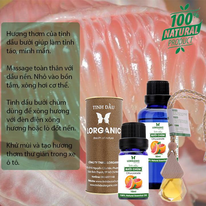 Tinh dầu bưởi chùm Citrus paradisi Lorganic 50ml/ Hương thơm ngọt ngào, ấm áp/ Tinh dầu thiên nhiên nguyên chất xông phòng, thư giãn tinh thần, giảm chứng mất ngủ, khử mùi hiệu quả/ Thích hợp dùng với đèn xông và máy khuếch tán.