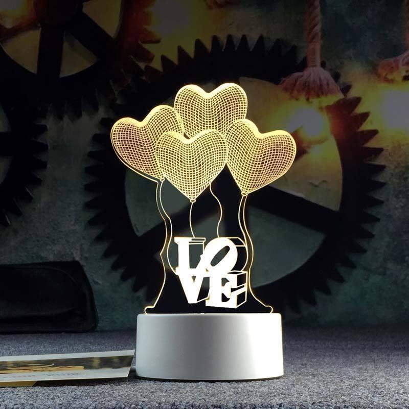 Đèn ngủ 3D hình trái tim LOVE - tiết kiệm điện